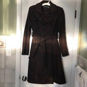 Brown women's trench coat wool